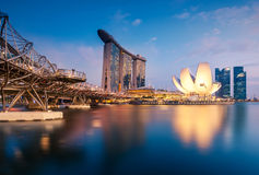 Financial district in Singapore at dusk. Stock Photography