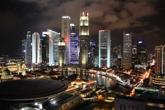 Financial District in Singapore at night Royalty Free Stock Images