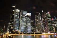 Financial District in Singapore at night Stock Images