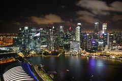Financial District in Singapore at night Stock Photography