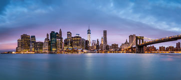 Financial District before sunrise Royalty Free Stock Photography