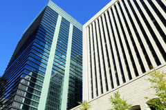 Financial district in Tokyo city Stock Photos