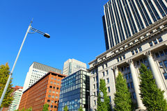 Financial district in Tokyo city Royalty Free Stock Photo