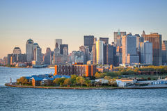 Financial District in Upper New York Bay Royalty Free Stock Images