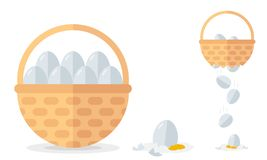 Financial diversification idea on basket with eggs example. Never put all eggs in one basket vector illustration.  vector illustration