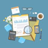 Financial document with graphs and charts on clipboard, calculato. Audit, report, analysis, research, planning accounting. Calculation. Vector Royalty Free Stock Images