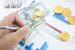 Financial document and money Royalty Free Stock Photography