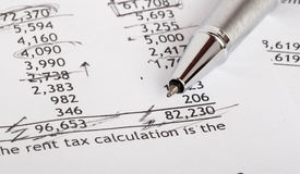 Financial document. Project of financial document with calculations on it Stock Photography