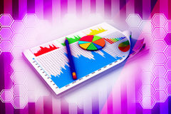 Financial documents and pencil Stock Images