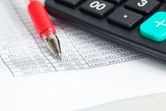 Financial documents verification closeup Stock Photo