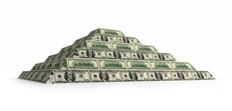 Financial dollar pyramid with depth of field stock images