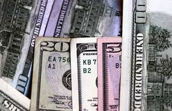 Financial dollar year 2015. New Year 2015 lined with dollar banknotes stock photography