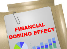 Financial Domino Effect concept. 3D illustration of FINANCIAL DOMINO EFFECT title on business document Royalty Free Stock Images