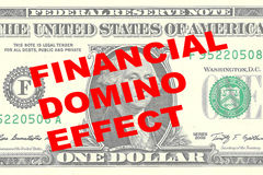 Financial Domino Effect - financial concept. Render illustration of FINANCIAL DOMINO EFFECT title on One Dollar bill as a background Royalty Free Stock Photography