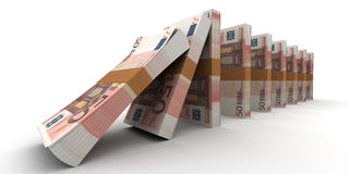Financial Domino effect. Domino effect with stacks of 50 Euro notes Royalty Free Stock Photos