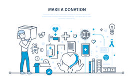 Financial donations, help to health, economic status, contribution to charity. Financial donations, help to maintain health, economic status, contribution to Royalty Free Stock Photography
