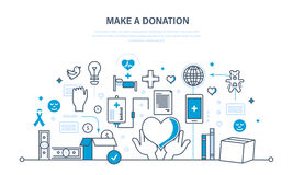 Financial donations, help to health, economic status, contribution to charity. Financial donations, help to maintain health, economic status, contribution to Stock Photo