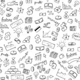 Financial doodle background. Doodle style seamless background - money, business and finance texture Stock Photography