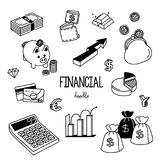 Financial Doodle. Hand drawing styles for financial. Financial objects Stock Photos
