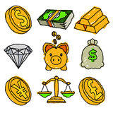 Financial Doodle Icons. Vector set of gold and financial doodle icons Royalty Free Stock Image