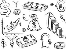 Financial Doodles. Business doodles, hand doodle vector illustration on white Stock Image