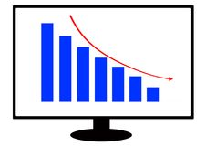 A financial graph illustration inside a computer monitor screen royalty free stock images