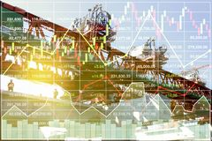 Financial Economy presentation of heavy construction. Financial Economy presentation background of heavy construction industrial Stock index data analysis with Stock Images