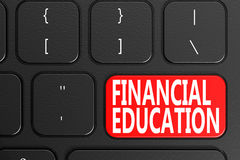 Financial Education on black keyboard. 3D rendering Stock Photography