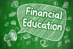 Financial Education - Business Concept. Speech Bubble with Wording Financial Education Doodle. Illustration on Green Chalkboard. Advertising Concept Stock Images