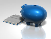 Financial education cocnept with piggybank Royalty Free Stock Image
