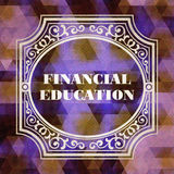 Financial Education Concept. Vintage design. Purple Background made of Triangles Royalty Free Stock Image