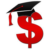 Financial Education Dollar Symbol With Hat Red. Financial education concept image with hat over dollar symbol Royalty Free Stock Photography