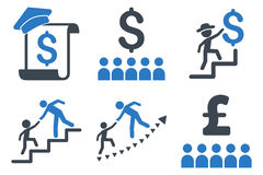 Financial Education Flat Glyph Icons Royalty Free Stock Photography