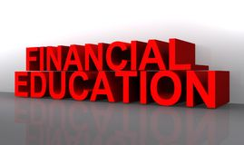 Financial education sign. 3d financial education sign reflecting on studio background Royalty Free Stock Photos
