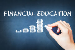 Financial education text on blackboard. Financial education with drawn piles of coins on blackboard Royalty Free Stock Image