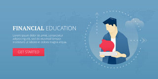 Financial education web banner. Vector banner template of student character holding a piggy bank on a book. Financial education  concept for banners Stock Photography