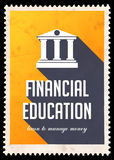 Financial Education on Yellow in Flat Design. Financial Education on Yellow Background. Vintage Concept in Flat Design with Long Shadows Royalty Free Stock Photography