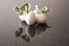 Financial eggs. Dollar bills hatching from egg shells Stock Photo