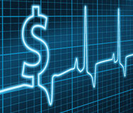 Financial ekg. Digital illustration concept of the Heart Beat of Financial Success Royalty Free Stock Images