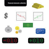 Financial elements collection. Collection of financial elements icons Royalty Free Stock Photo