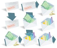 Financial email icons. Financial email icon set, perfect for web use Royalty Free Stock Images