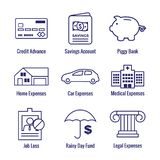 Financial Emergency Fund Icons  - Home or House, Car or Vehicle Damage, Job Loss or Unemployment, and Hospital / Medical Bills. Financial Emergency Fund Icons  w