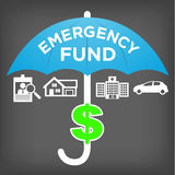 Financial Emergency Fund Icons and umbrella. Financial Emergency Fund Icons with Umbrella Stock Images