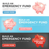 Financial Emergency Fund Piggy Bank. Banners Royalty Free Stock Photography
