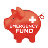 Financial Emergency Fund Piggy Bank. Red Financial Emergency Fund Piggy Bank Stock Photos