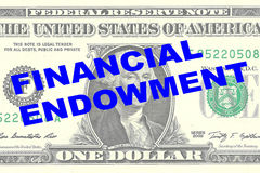 Financial Endowment concept. Render illustration of FINANCIAL ENDOWMENT title on One Dollar bill as a background Royalty Free Stock Photography