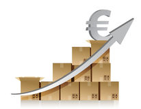 Financial euro box graph illustration design over Stock Images