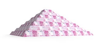 Financial euro pyramid. Financial pyramid of 500 euro, 3d render isolated on white Royalty Free Stock Images