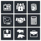 Financial Exchange icon set. Financial Exchange icons set on a black background Royalty Free Stock Photos
