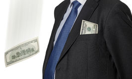 Financial executive with dollar bill isolated on white Stock Photography